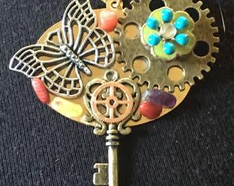 Butterfly steampunk pendant