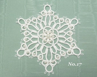 Tatted Lace Christmas Ornament Snowflake -Ice Crystal No.17 large handmade ornament for a big tree pearls and silver in white gft decoration