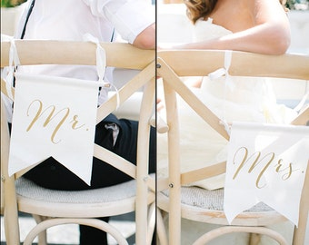Mr & Mrs Chair Sign, Wedding Chair Sign, Gold Chair Sign, Fabric Mr and Mrs, Rustic Chair Sign, Rustic Mr and Mrs, Wedding Mr and Mrs