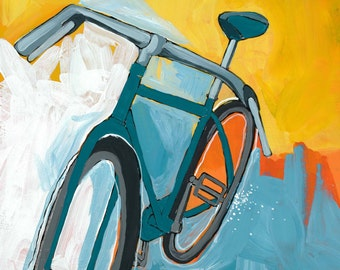 Teal Bike 8x8 print on high quality semi gloss archival paper