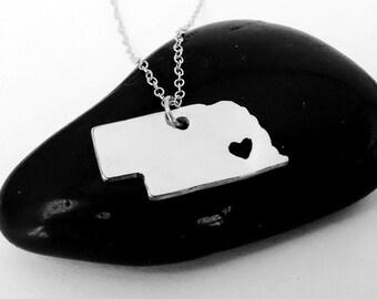Nebraska Shaped Necklace Silver,Nebraska Charm State Necklace, NE State Pendant Jewelry,Nebraska Necklace With A Heart