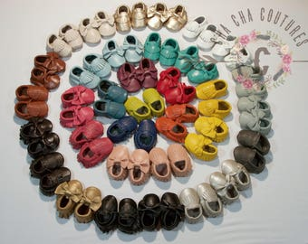 100% genuine leather baby moccasins Mocs moccs tassel