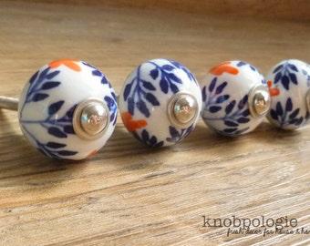 "SET OF 4 - 1 1/8"" Navy Blue Orange White and Green Floral Ceramic Knob - Flower Drawer Pull - Decorative Knob - Cabinet Kitchen Decor"