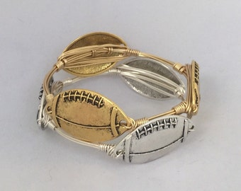 Football Wire Wrapped Bangle Bracelet *Bourbon and Boweties Inspired*