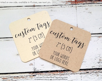 custom tags, square with rounded corners, kraft tags, logo tags, custom wedding tags, clothing tags, packaging, party tag (T-104)