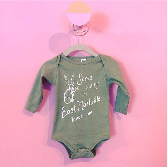 Some Bunny in East Nashville Loves Me limited edition organic cotton avocado long sleeve onesie
