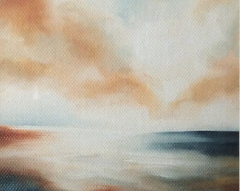 Evening at sea oil on canvas framed painting