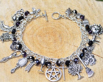 Witches Charm Bracelet - 'Darkling' - Handmade Pagan Jewellery for Wicca, Witch, Witchcraft, Pentacle, Goddess, Greenman.  Gothic.