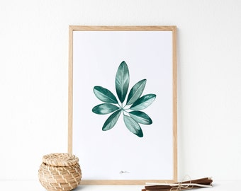 Tropical leaf | Leaves painting | Watercolor painting | Tropical print | Tropical decoration | Botanical decor | Housewarming gift