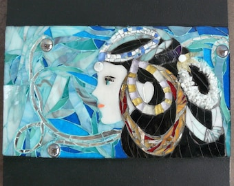 """Contemporary painting """"Ocean"""" blue, green glass and mirror mosaic - inspired Navy"""