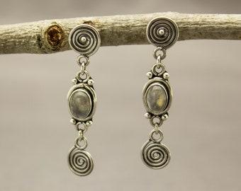 Labradorite Earrings, Gemstone Earrings, Silver Earrings, Boho Earrings, Labradorite, Dangle Earrings, Drop Earrings, Sterling Silver