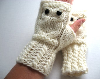 Owl Fingerless Gloves Mittens - Merino Wool Chunky - Cream