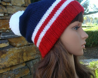 DIY - Knitting PATTERN  #8: 4th of July patriotic knit hat pattern, knit beanie pattern, American flag hat pattern - PDF Digital Pattern