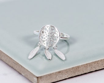 Sterling Silver Dream Catcher Adjustable Ring