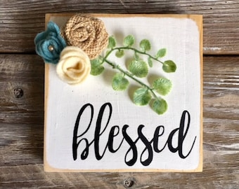 blessed mini wooden sign
