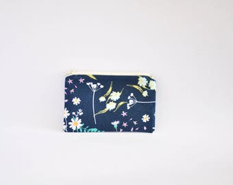 Small Coin Purse, Change Purse, Coin Pouch, Zipper Pouch, Makeup Pouch, Cosmetic Pouch, Card Pouch, Card Holder - Navy Floral