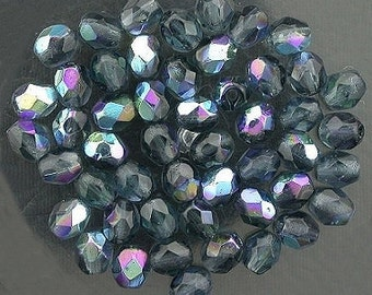 25 montana blue  ab czech fire crystal beads 4mm