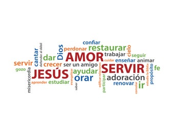Word collage Jesus, Amor, Servir,  Youth Room, Church, Christian School, Wordle, wall decal, vinyl , Spanish collage, word cloud, RE3150