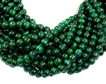 Natural Malachite Beads, 6 mm Round Beads, 15.5 Inch, Full strand, Approx 65-67 beads, Hole 0.8mm, A+ quality (312054006)