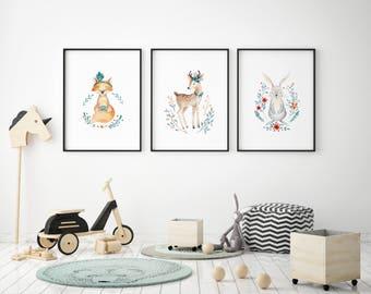 Watercolour woodland animals nursery A4 new baby print   present   gift   kids room   art prints