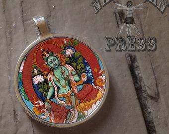 Green Tara Pendant, FREE ball chain included, Round Bezel Pendant