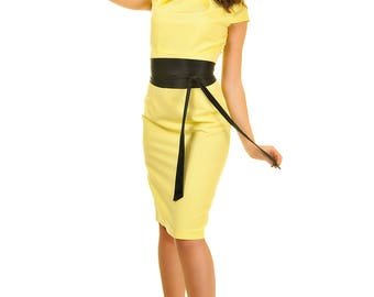 Yellow pencil dress wedding guest short sleeves black belt Elegant fitted dress birthday gift for her Midi dress