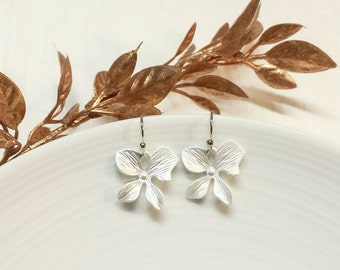 Matte Silver Orchid Flower Earrings, Simple Orchid Earrings, Silver Wedding, Bridal, Bridesmaid, Mom, Gift for Her