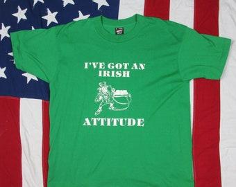 Vintage 1990's I've Got an Irish Attitude Leprechaun Graphic T-Shirt Large/XL Green White Ireland St. Patrick's Day Pride Screen Stars Soft