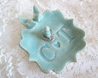 Wedding ring holder, ring dish, engagement gift, personalized gift, mint green ceramic dish, gift