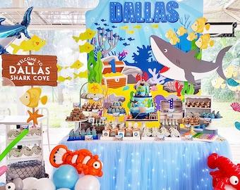 DIGITAL FILES Shark Ocean Birthday Banner Backdrop, Large Scale Shark Backdrop Printable, Under the Sea Poster