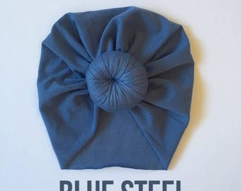 Tiny Turban- Blue Steel