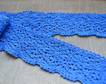 Blue crochet lace, Crochet lace trim, Lace trim, Lace, Crochet, Blue lace trim, Crochet trim, Crochet border, Sewing supplies, Trimmings