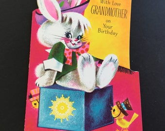 Vintage Birthday Greeting Card, To Grandmother, Bunny & chick, Greetings Inc.