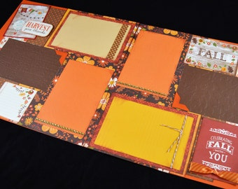 12X12 Autumn Scrapbook Page Kit, Fall Premade Scrapbook Page, Give Thanks Scrapbook Page, 12X12 Scrapbook Layout, Scrapbook Premade Page