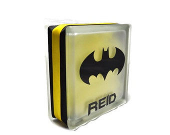Batman Glass Block Night Light - Batman Lamp - Batman Glass Block - Batman Night Light - DC Comics Night Light - Batman Decor -DC Comics