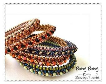 CRAW Seed Bead  Bangle Pattern Beadweaving Instructions Narrow Beaded Bangle Ethnic Skinny Tribal Bangle Handmade Jewelry Tutorial BANG BANG