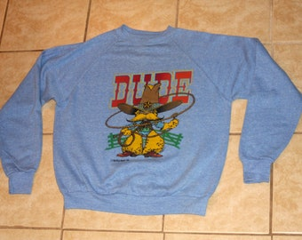 The Wild Bunch Dude Cowboy Heather Blue DEADSTOCK Pullover Sweatshirt L Vintage 1981