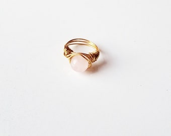 Wire Wrapped Rose Quartz Ring