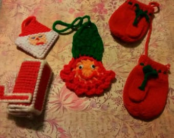 Set of 5 vintage style Christmas ornaments, Christmas yarn ornaments, Christmas knit ornaments