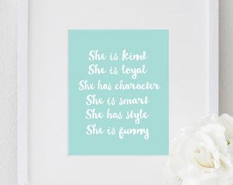 PRINTABLE Inspirational She Quote Motivational Print Typography Poster Nursery Decor Girls Bedroom Wall Print Home Decor