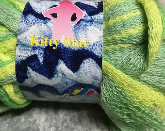 Green and yellow yarn for scarf ruffle 100grs