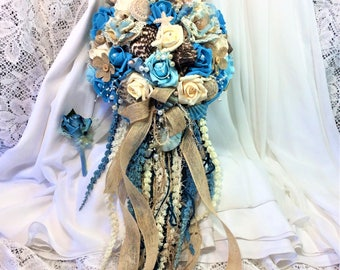 Rustic Beach Wedding Cascade Flower Bouquet-Seashells & Flowers Wedding Bouquet-Beach Bridal Flowers-Beach Brides Bouquet-Blue Beach Flowers