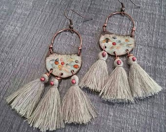 Enameled dangle earrings, handcrafted charm and a trio of grey tassel