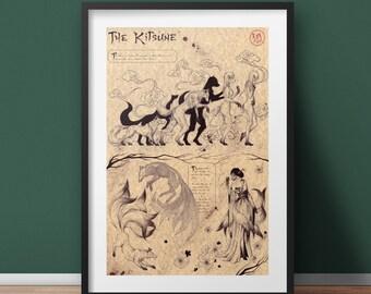 Large - Kitsune - Japan Mythology Art Print