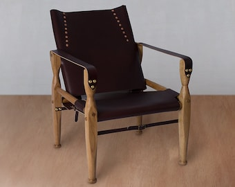 wood and leather chair. Safari Chair, Leather Lounge Accent Campaign Sling Roorkhee Camp, Custom Bespoke Furniture Wood And Chair I