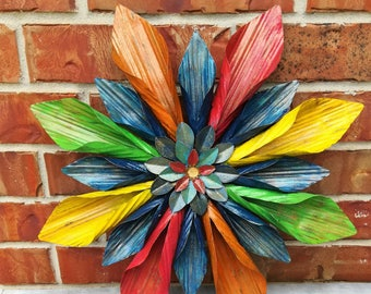 Home Decor-Floral Metal Wall Art, Slightly Aged Finish, Patio Decor, Entryway Decor, Gift for Her, Gift for Couple, CHOOSE YOUR own COLORS!