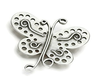 Beautiful Butterfly Pendant - Focal Bead - Antique Silver Plated - Qty. 1