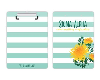 SA Sigma Alpha Sorority Striped Chrysanthemum Personalized Clipboard