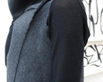 SALE Soft Grey High Quality Kasha Fabric Sleeveless Coat / Extravagant Vest  A07086