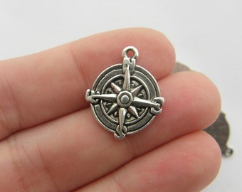 6 Compass charms antique silver tone SC59